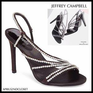 JEFFREY CAMPBELL BLACK SILVER HEELS SANDALS A2C